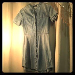 DKNY denim button down dress w/mini polka dots.